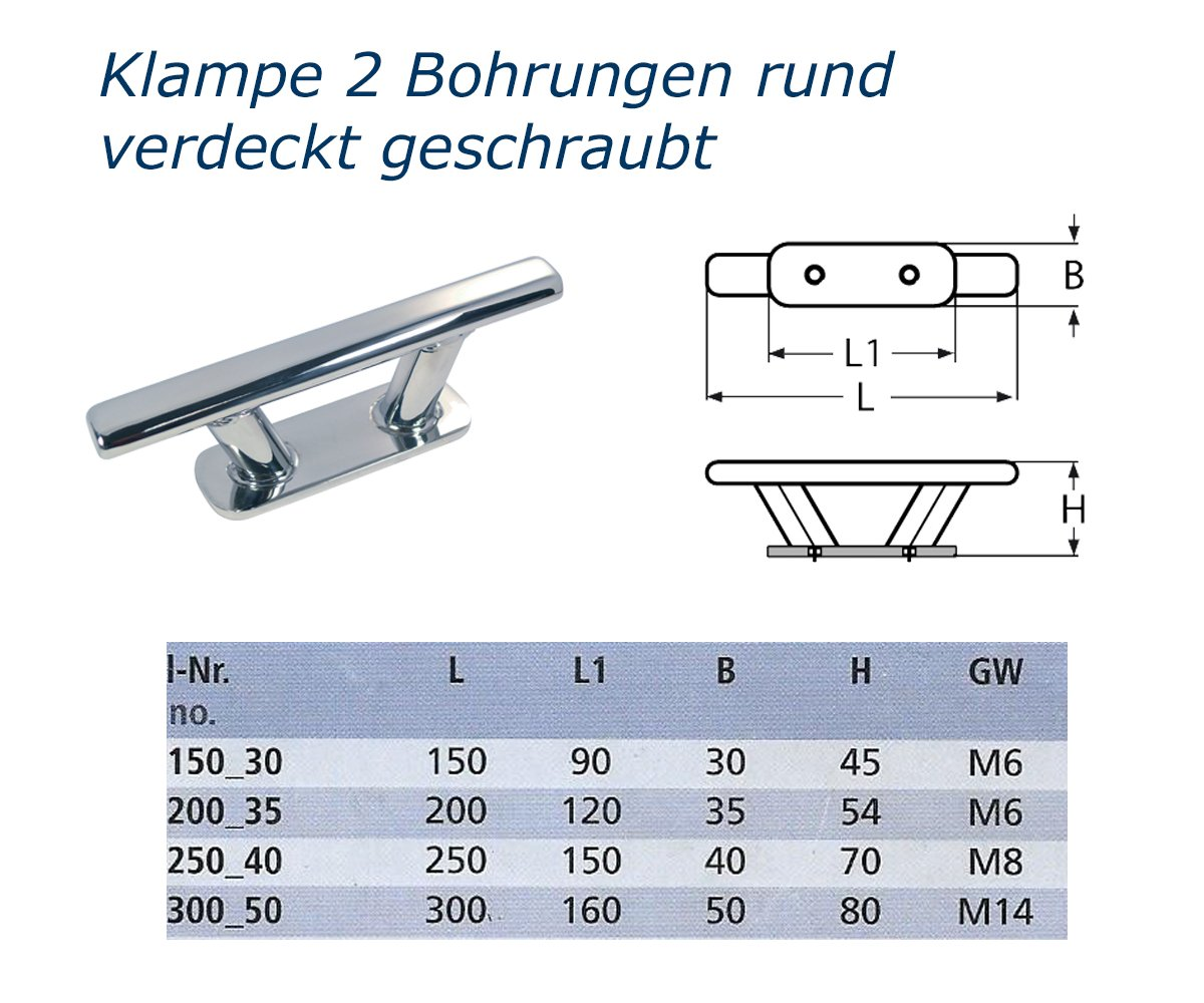 Edelstahl Klampe 150 mm 4 Bohrungen Klampen Festmacherklampe Bootsklampe 2 St/ück Belegklampe rund