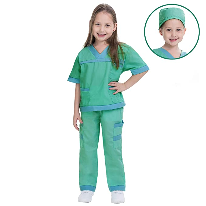 Dr. Scrubs Deluxe Kids Toddler Vet Costume Set in Green for Scrub's Pretend Play, Halloween Jr. Doctor Dress Up Party (Large (10-12yr))