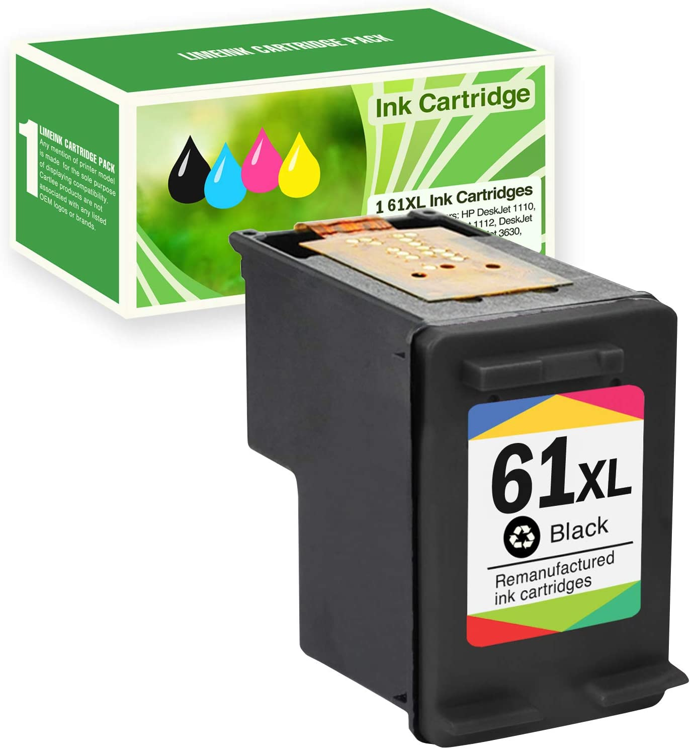 Limeink Remanufactured Ink Cartridge Replacement 61XL High Yield for HP 1000 1010 1050 1055 1510 1512 2000 2050 2510 2512 2514 2540 2542 2543 2549 3000 3050 3050A 3051A 3052A 3052A 3054A Envy -1 Black