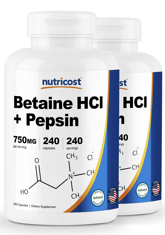 Amazon.com: Nutricost Betaine HCl + Pepsin 750mg, 240 Capsules - Gluten Free & Non-GMO: Health & Personal Care