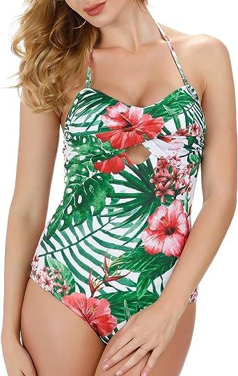 GRACE KARIN Womens Floral Pattern Swim Dress Swimwear Bathing Suit Sleeveless U-Neck Swimsuit
