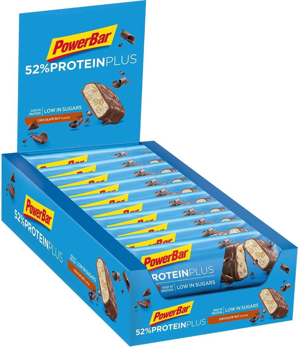 PowerBar Protein Plus 52% Chocolate Nut 20x50g - Barras de Proteína con Bajo Contenido de Azúcar