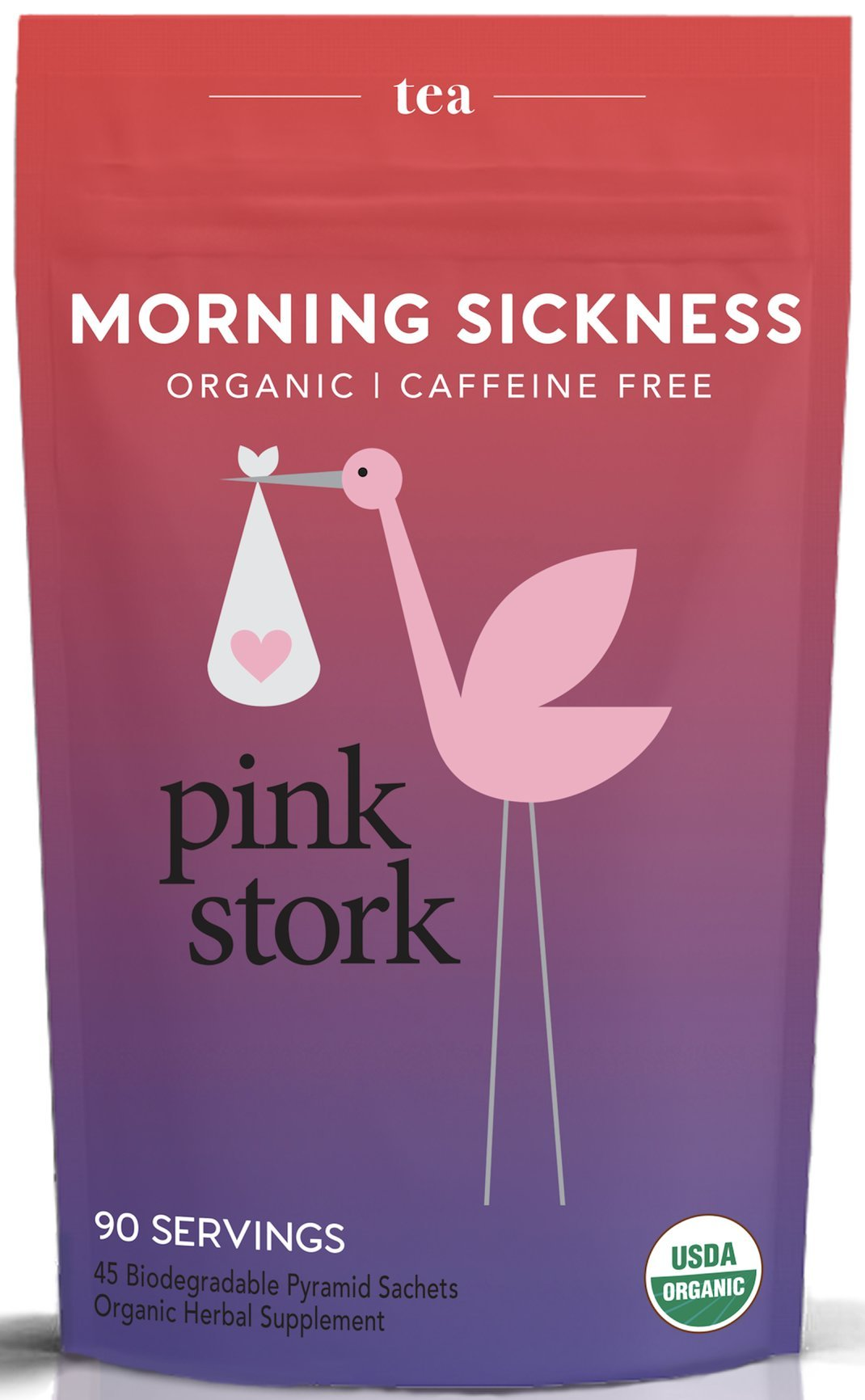 Pink Stork Morning Sickness Tea: Ginger-Peach, USDA Organic Loose Leaf Herbs in Biodegradable Sachets, Morning Sickness, Nausea, Cramps, Indigestion Relief -90 Cups, Caffeine Free