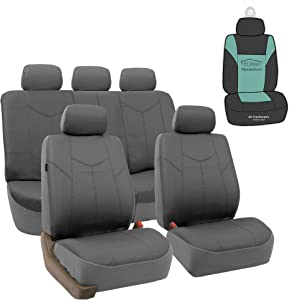 FH Group PU009115 PU Leather Rome Seat Covers (Gray) Full Set with Gift - Universal for Cars Trucks and SUVs