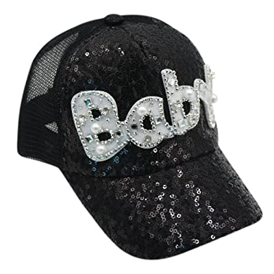 Aimeio Baby Girls Boys Sequin Mesh Trucker Plain Baseball Cap Snapback Sun Hat