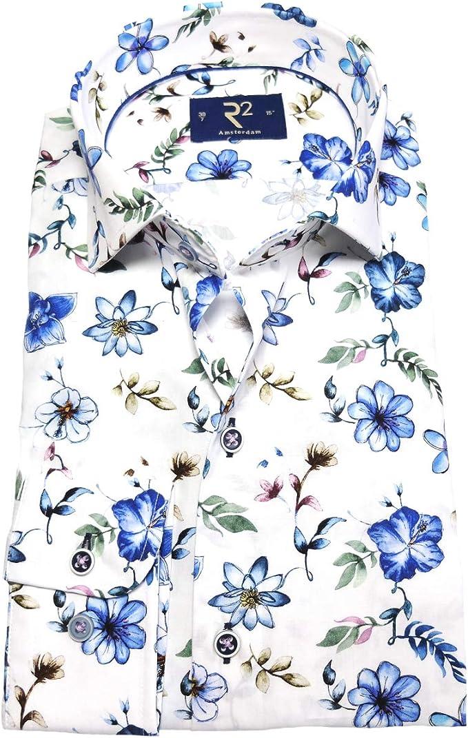 R2 Amsterdam Camisa de Manga Larga Modern Fit, Blanco, Multicolor, diseño Floral, Manga extralarga, 72 cm, Talla 38 hasta 48.: Amazon.es: Ropa y accesorios