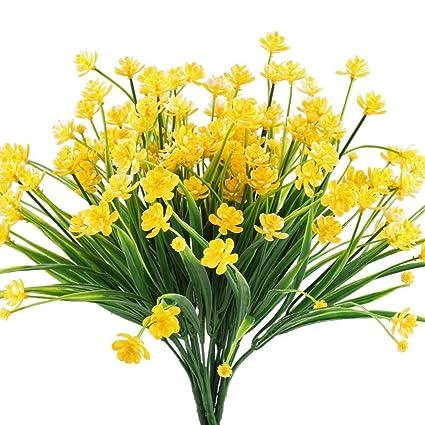 Mihounion Flores Falsas Artificiales 4 Pcs Faux Narcisos Amarillos - Narcisos-amarillos