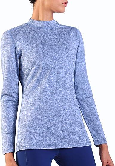 Ogeenier Fleece Camiseta Térmica de Manga Larga con Cuello Alto Mujer Sudadera Cálida