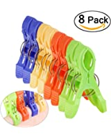 Tinksky 8pcs Large Sized Bright Color Plastic Beach Towel Clips Quilt Clips