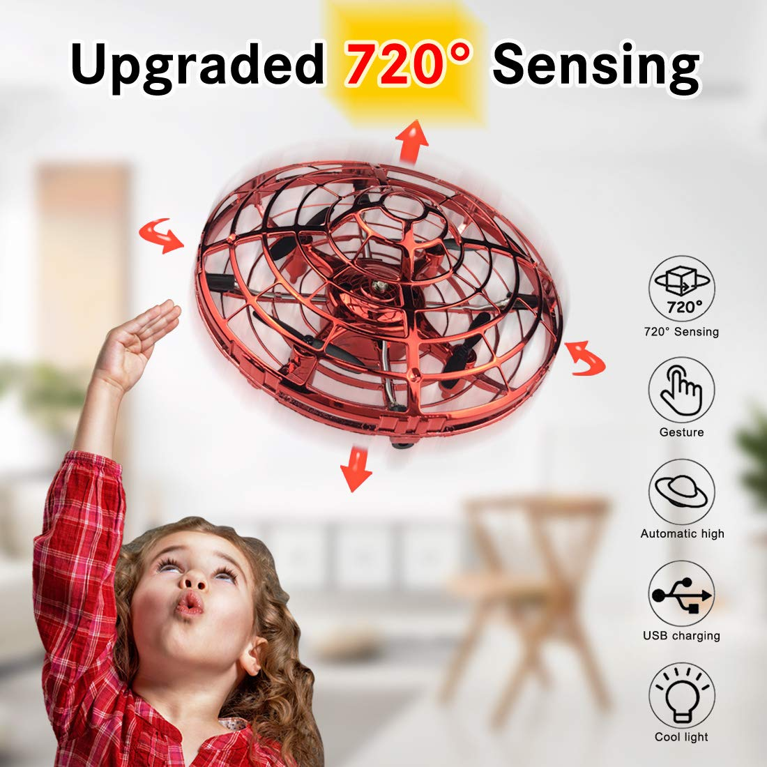 WEW Flying Ball Drone, Upgrade Hand Controlled Drone for Kids720°Omnidirectional Interactive Infrared Induction Helicopter 360°Rotating Ball with Shinning LED Lights Flying Toys for Boys Girls - Red