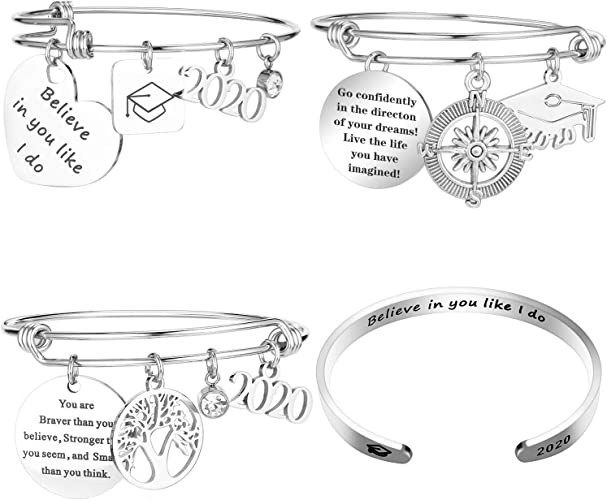 AZORA Graduation Gift Jewelry Inspirational Bracelet with 2020 Cap Charm Engraved Stainless Steel Bangle for Teen Girls Women