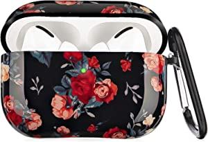 Airpods Pro Case - LitoDream Rose Flower Protective Hard Case Cover Skin Portable & Shockproof Women Girls with Keychain for Apple Airpods Pro Charging Case (Rose Flower)