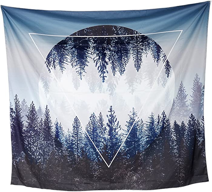 TENALY Tapestry Wall Hanging, Sunset Forest and Mountains Wall Tapestry with Art Nature Home Decorations for Living Room Bedroom Dorm Decor in 59.1x78.7 Inches