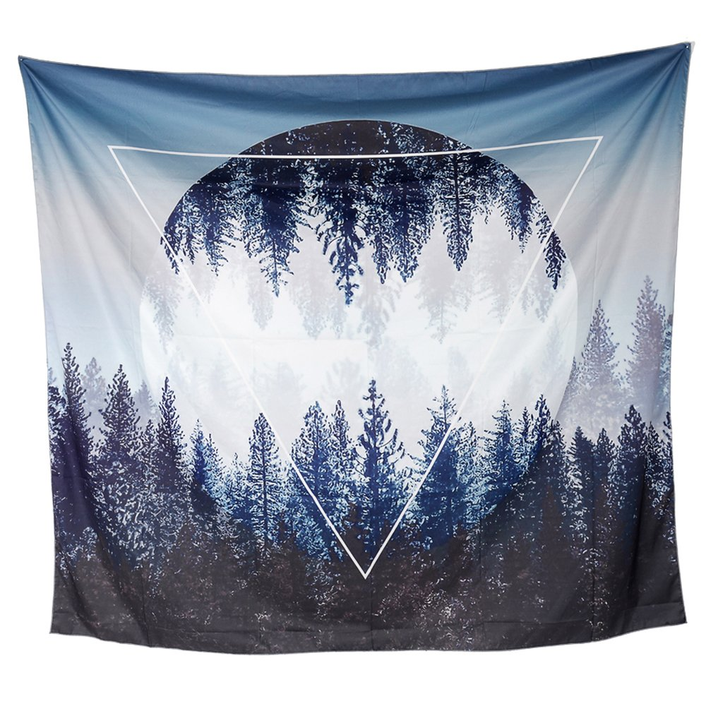 Tapestry Wall Hanging, Tenaly Sunset Forest and Mountains Wall Tapestry with Art Nature Home Decorations for Living Room Bedroom Dorm Decor in 51x60 Inches