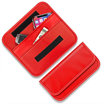 Faraday Bag for Car Key Fob, Syscudo Faraday Cage RFID Signal Blocking Bag Case Shielding Pouch, RFID/WiFi/GSM/LTE/NFC Protector (Red): Car Electronics