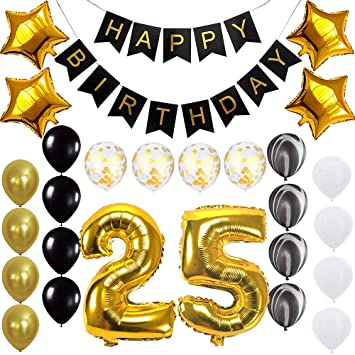 Amazon Happy 25th Birthday Banner Balloons Set For 25 Years Old