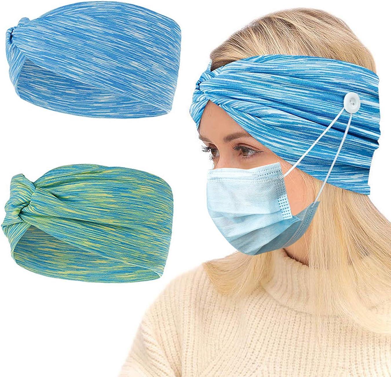 AIEOE 4er Pack Haarband mit Knopf f/ür Damen Herren Sport Stirnband Elastische Rutschfest Schwei/ßband Headwear Sch/ützen Sie Ihre Ohren