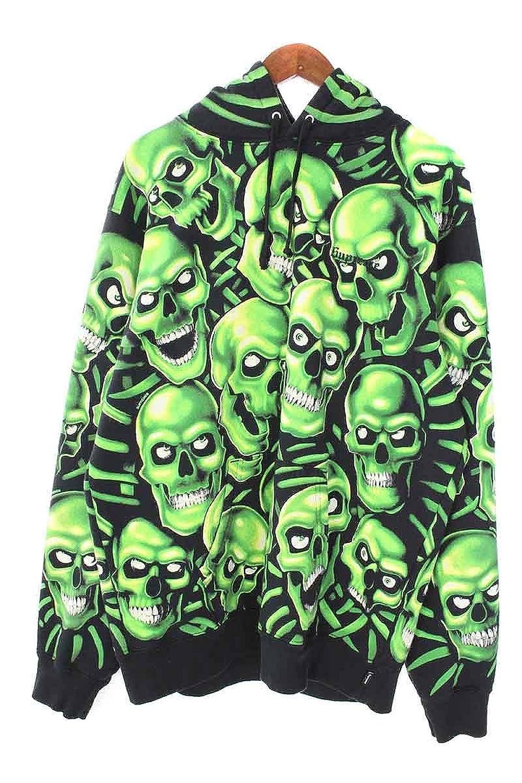 (シュプリーム) SUPREME 【18SS】【Skull Pile Hooded Sweatshirt】スカル総柄リフレクトパーカー(L/ブラック×グリーン) 中古 B07FH7SJN8