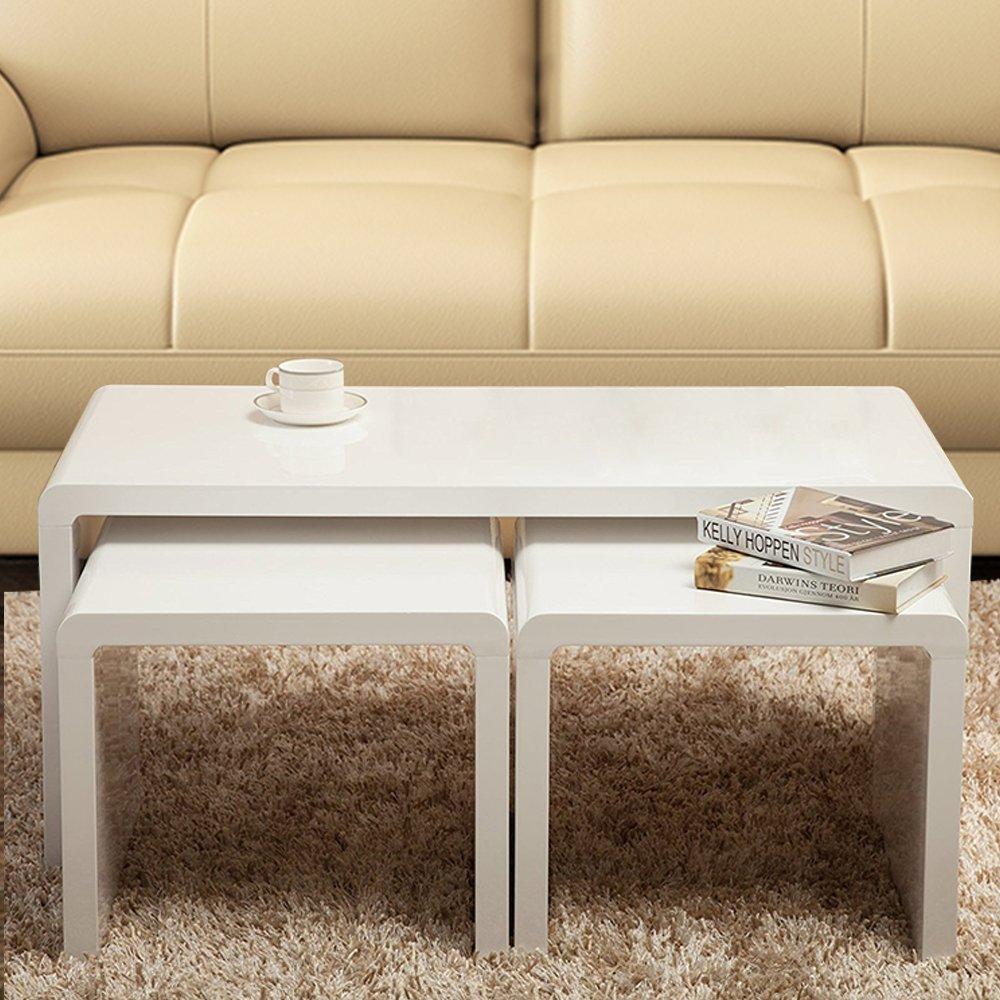 Joolihome Nest von Tisch glänzend Retro Nest von Tisch für Wohnzimmer weiß Ende Tisch Holz Kaffee Tisch