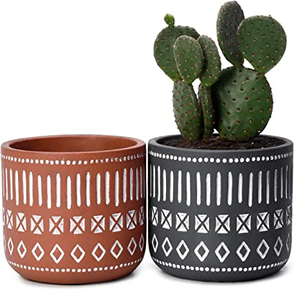 Amazon Com Potey Cement Plant Pots Concrete Flower Planters 4 3 Medium Pot With Drain Hole Handcraft Geometry Cylinder Deco Indoor Set Of 2 Brown Grey Garden Outdoor