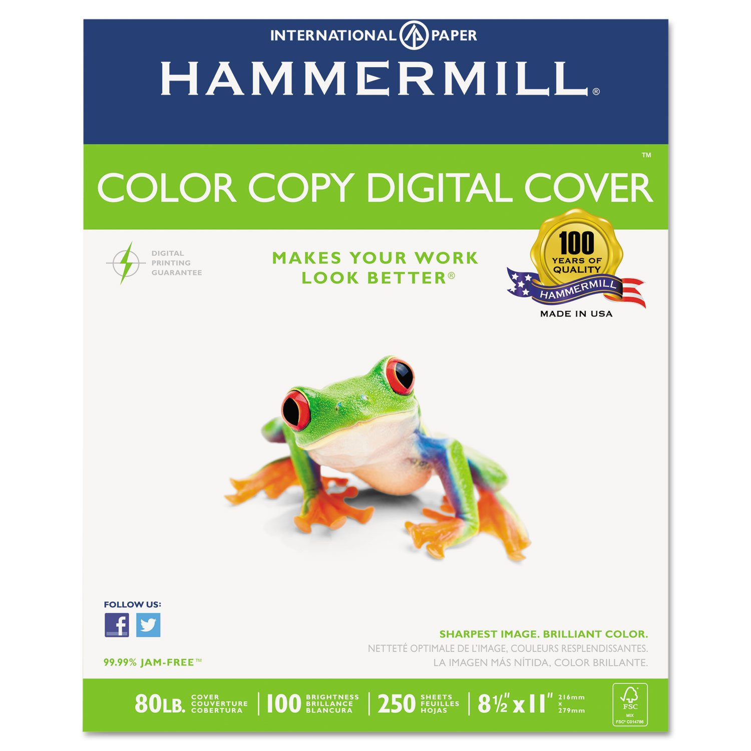 Hammermill 120023 Copier Digital Cover Stock, 80 lbs, 8 1/2 x 11, Photo White, 250 Sheets by Hammermill
