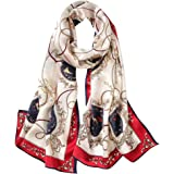 100% Mulberry Silk Long Scarf for Women Large Shawls for Headscarf and Neck- Oblong Hair Wraps with Gift Packed