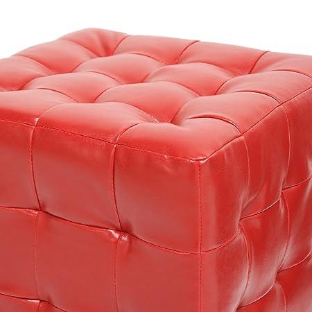 Amazon.com: Baxton Studio Siskal Modern Cube Ottoman, Red, Set of 2 ...
