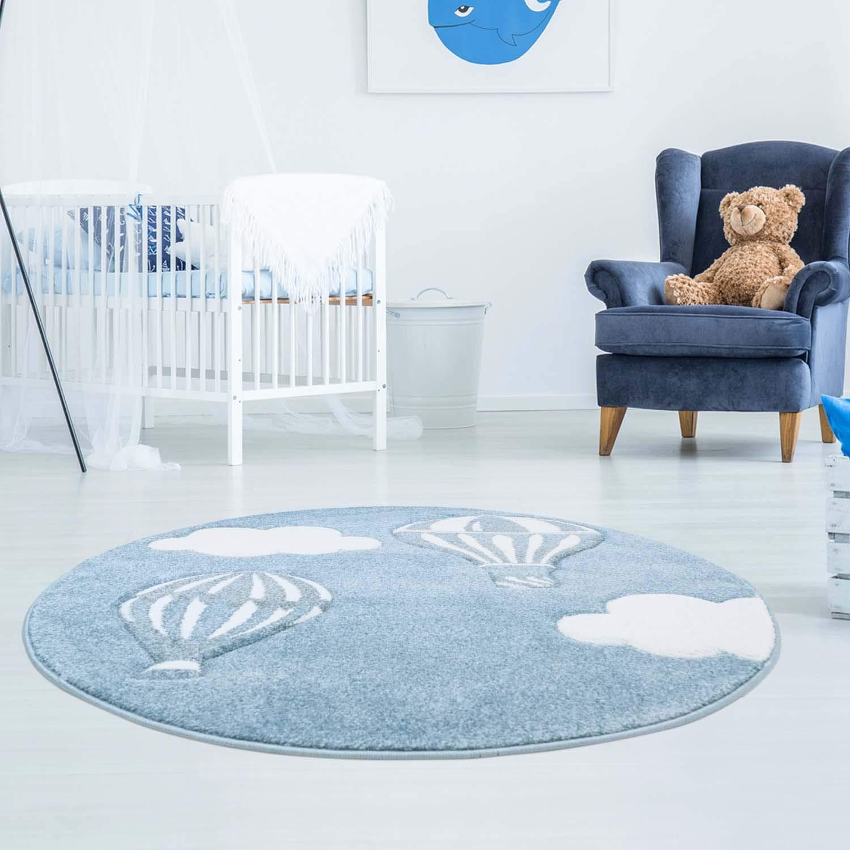 Niñ os alfombra de gran calidad bueno con globo de aire caliente, nubes en azul/blanco con contornos Interfaz, brillo hilo para habitació n de los Niñ os 80/150 cm brillo hilo para habitación de los Niños 80/150 cm carpet city