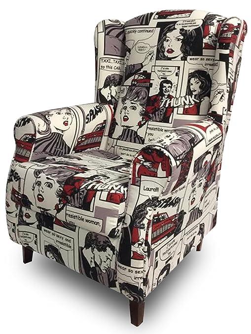 SUENOSZZZ - Sillon Relax, Sillon orejero para Lactancia Irene. Tejido HP Comic. Butaca para Dormitorio, Salon o habitacion de Bebe | Sillon Lactancia