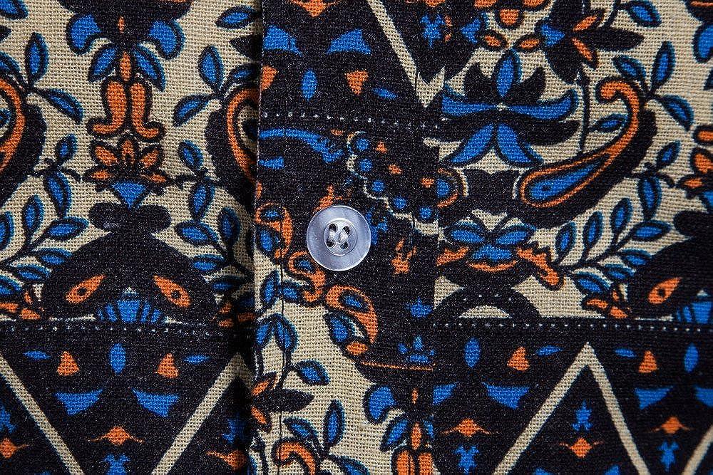 Luckylin Mens Spring Summer Summer Bohe Floral Short Sleeve Linen Basic T Shirt Blouse Top Plus Size Top