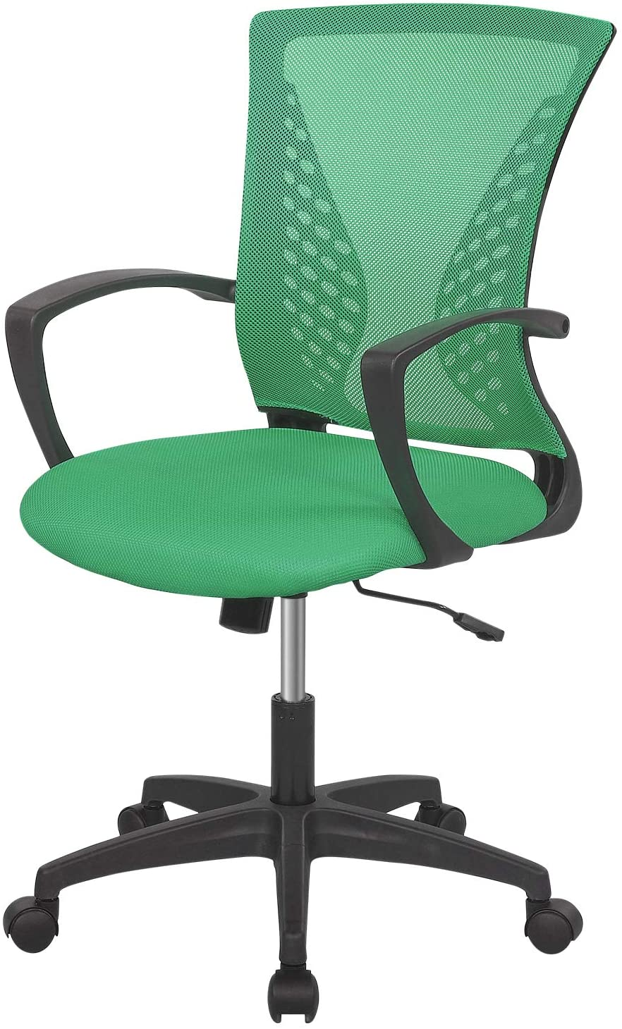 Home Office Chair Mid Back PC Swivel Lumbar Support Adjustable Desk Task Computer Ergonomic Comfortable Mesh Chair with Armrest (Green)