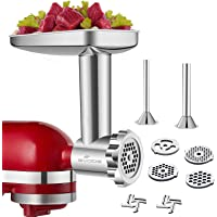 GVODE Stainless Steel Food Grinder Accessories For KitchenAid Stand Mixers Including Sausage Stuffer, Stainless Steel…