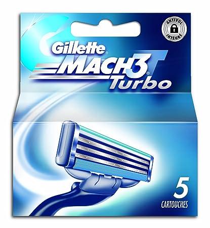 Gillette 80201239 Mach3 Turbo - Recambios para cuchillas de afeitar (5 unidades)