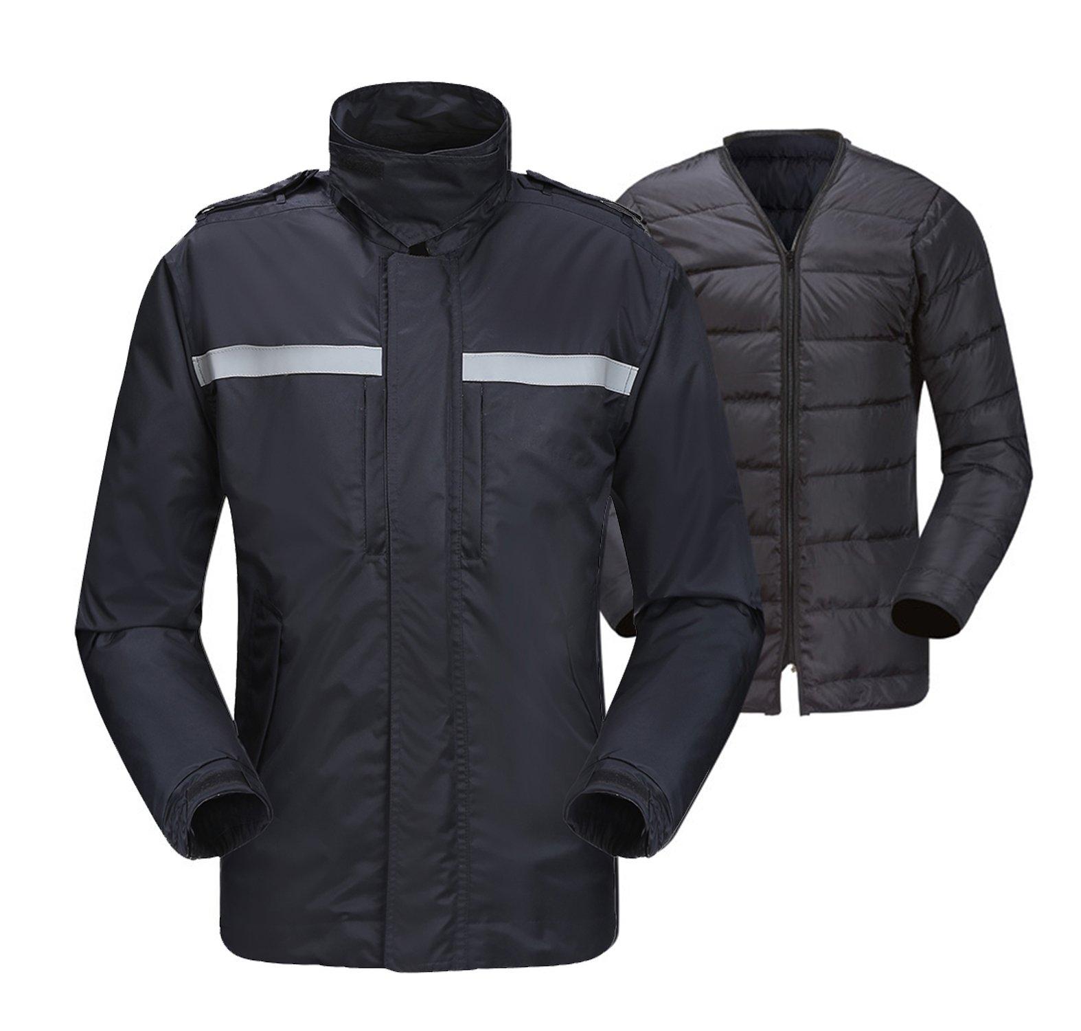 Insun Men's Rain Jacket Waterproof Outdoor Winter Duck Down Coat 2 in 1 XS Black