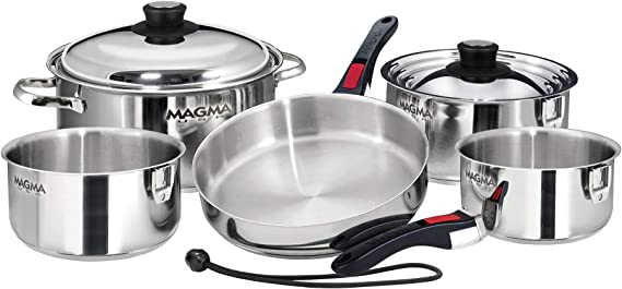 MAGMA PRODUCTS, 10 PIECE GOURMET NESTING STAINLESS STEEL COOKWARE SET: