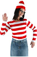 JerriyCostumes Adult Where's Waldo Costume Funny Sweatshirt Outfit Glasses Suits