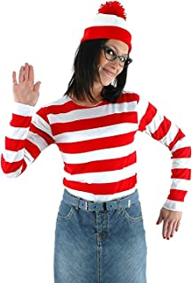 JerriyCostumes Adult Whereu0027s Waldo Costume Funny Sweatshirt Outfit Glasses Suits  sc 1 st  Amazon.com : waldo and wenda costumes  - Germanpascual.Com
