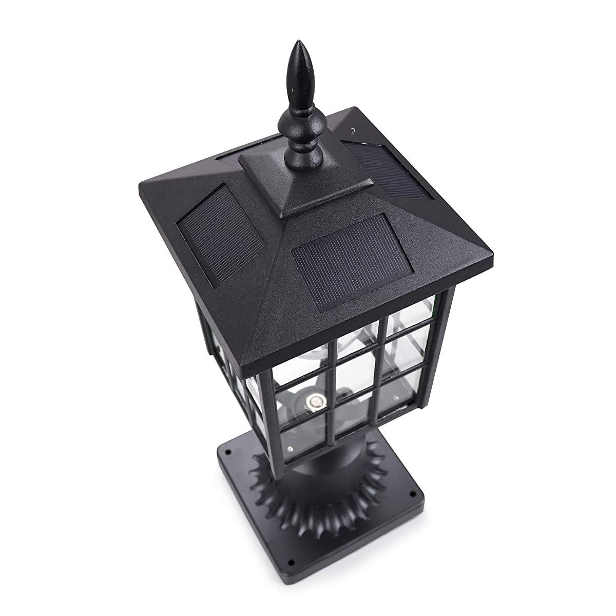 Kemeco ST4224Q LED Cast Aluminum Solar Post Light Fixture with 3-Inch Fitter Base for Outdoor Garden Post Pole Mount