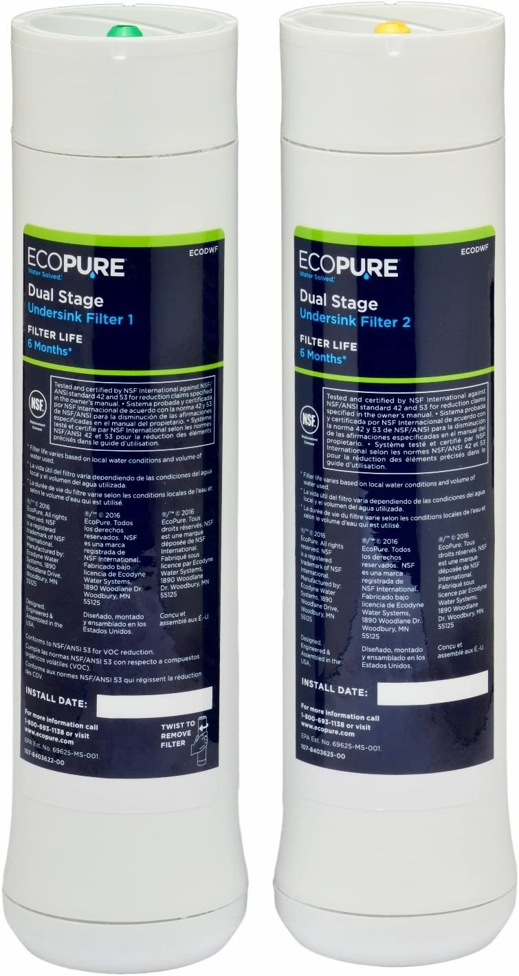 EcoPure Dual Stage Under Sink Replacement Water Filter Set (ECODWF)   NSF Certified   Fits ECOP20 System   6-Month Filter Life