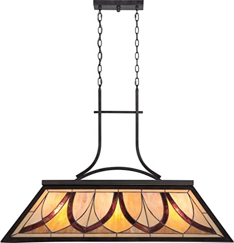 Quoizel TFAS344VA Asheville Tiffany Pool Table Island Chandelier, 3-Light, 300 Watts, Valiant Bronze 29 H x 19 W