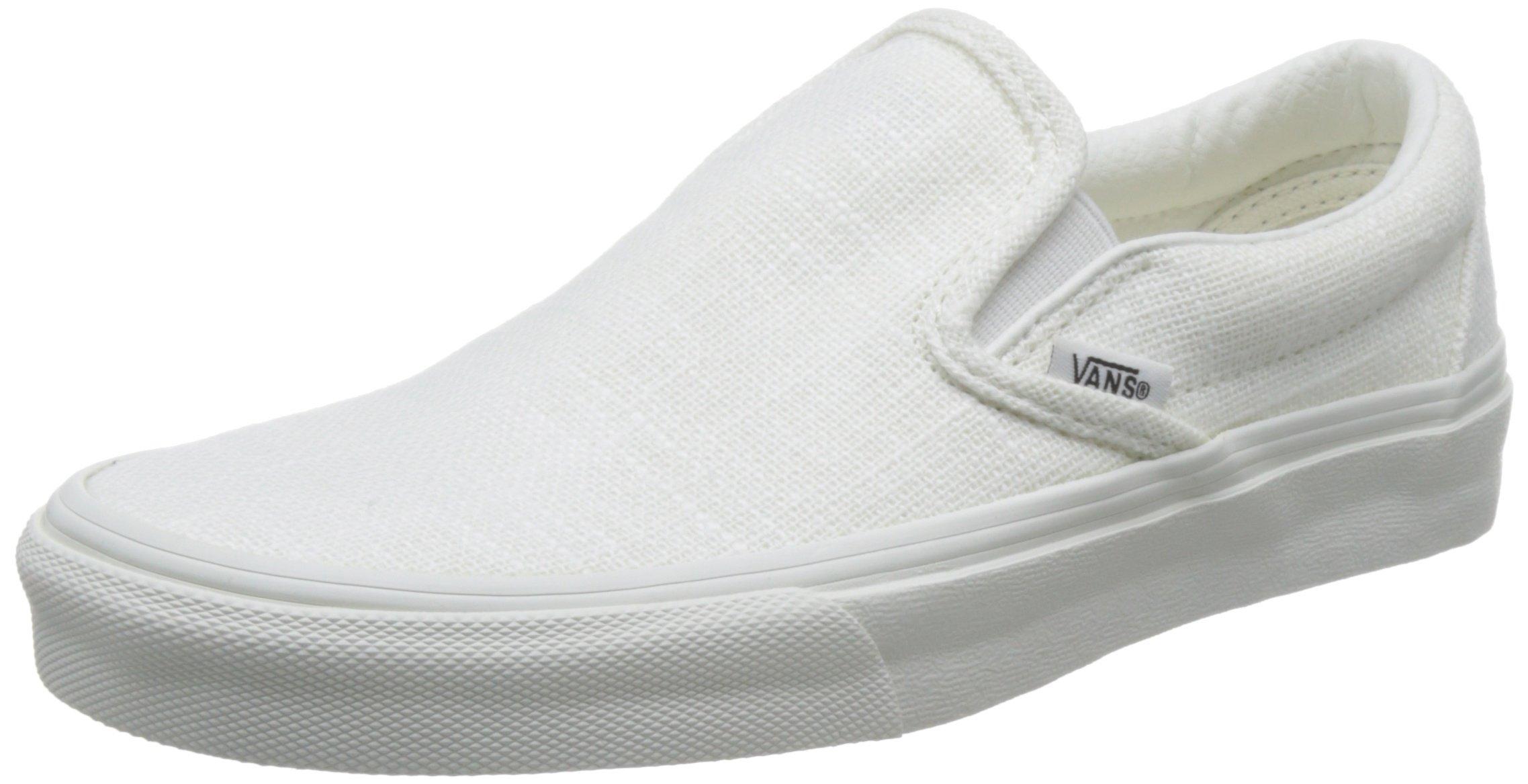 Vans Classic Slip On Hemp Linen Blanc de Blanc Sneakers (5 Mens/6.5 Womens, Blanc de Blanc)