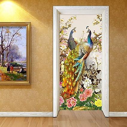 5382e56ee2 SHANWP 3D Door Wall Mural Wallpaper 3D Stereo Peacock Door Wall Sticker  Bedroom Living Room Corridor