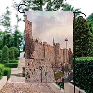 ALUONI 12 x 18 Inch Garden Flag - Ancient Citadel Inside Old City Jerusalem Double Sided Print Country Garden Yard Flag for Home Outdoor Decor IS071657