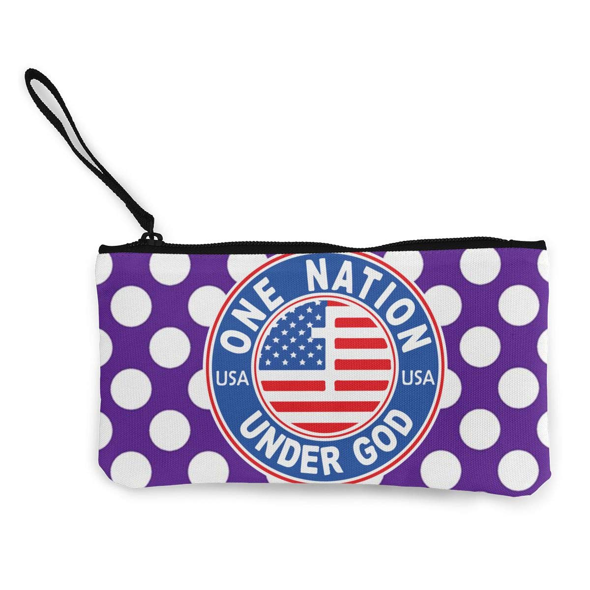 Make Up Bag,Cellphone Bag With Handle America One Nation Under God Zipper Canvas Coin Purse Wallet