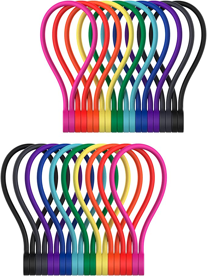 Reusable/Twist/Ties for Cord Wraps Holding Stuff for Home School 8 Pack Magnetic Cable Ties Office Kitchen