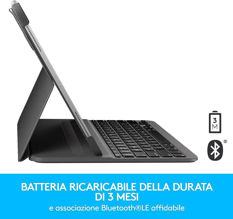 Grigio Custodia Bluetooth con Tastiera Retroilluminata per iPad Pro da 11 Pollici 1a e 2a generazione Logitech SLIM FOLIO PRO