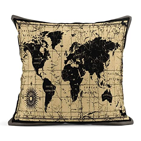 Kinhevao Cojín Mapamundi Antiguo Geografía Antigua Asia ...