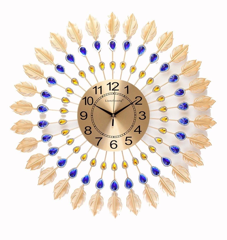JCRNJSB® シンプルな孔雀のリビングルームの壁時計、現代ヨーロッパの創造的な時計、ミュートの時計ベッドルームクォーツ時計光る70x70cm 壁掛けサスペンション クロックウォールクロック クォーツ時計 (色 : #1) B07CVTDWB8#1
