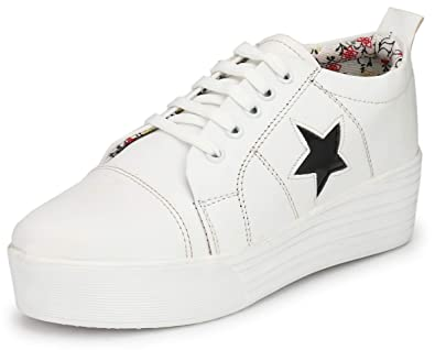 f94fa675621a7 Flooristo White High Heel Sneakers for Women/Platform Shoes for Girls: Buy  Online at Low Prices in India - Amazon.in