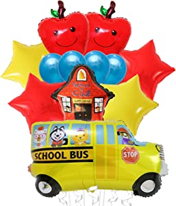 Back to School Balloons Decorations Kit - Large,Pack of 12 | Apple Shape Balloons,School Bus Decorations Balloons with School is Cool Balloon,Red and Yellow Star Balloons| Back to School Decorations